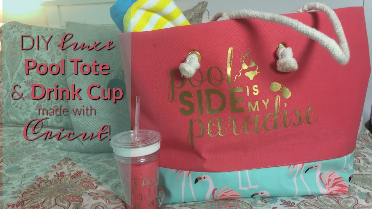 Tote bag and drink cup with Cricut iron-on decal by Inside The Hem