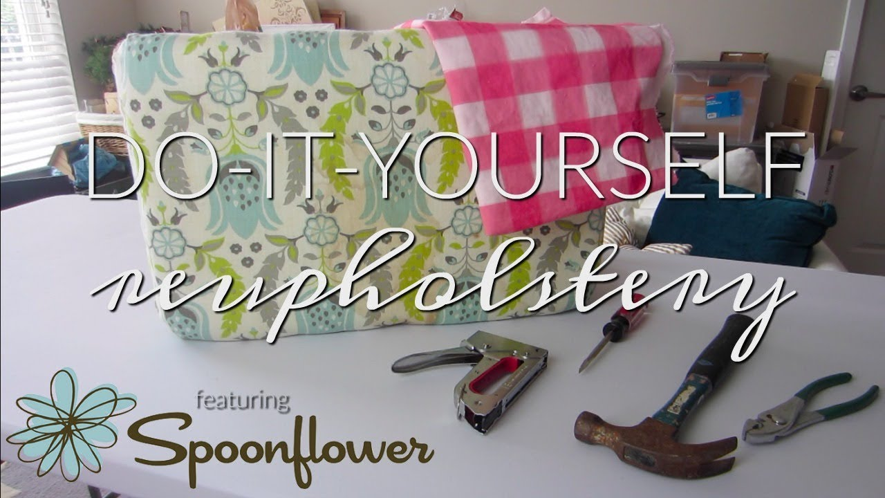 Bench upholstery diy tutorial by Inside the Hem featuring Spoonflower canvas
